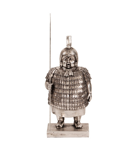 Howard Elliott Collection 12207 Samurai Guard Electroplated Silver Nickel and Black Patina Statue photo
