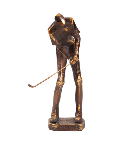 Howard Elliott Collection 12219 Putting Golf Player Bronze with Gold Leaf Statue photo