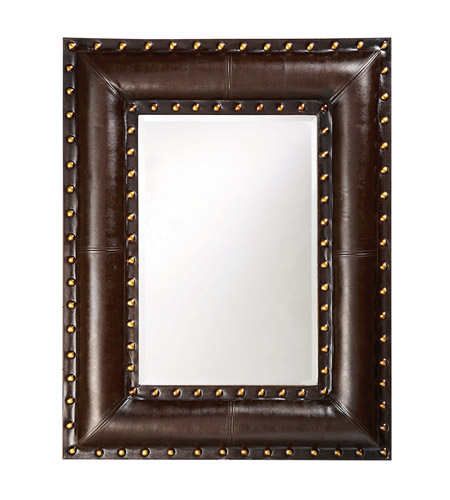Howard Elliott Collection 1339 Palermo 45 X 35 inch Dark Brown Faux Leather Wall Mirror, Rectangle photo