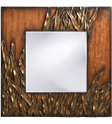 Howard Elliott Collection 14199 Cameron 30 X 30 inch Copper Wall Mirror, Square, Bronze Blades of Grass photo
