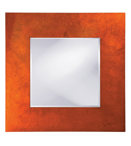 Howard Elliott Collection 14205 Kayla 46 X 46 inch Orange Lacquer Wall Mirror, Square, Black Highlights photo