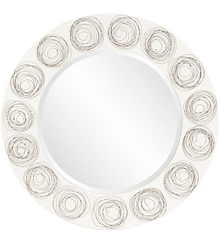 Howard Elliott Collection 14287 Rhumba 36 X 36 inch White Lacquer With Black Spirals Wall Mirror, Round photo