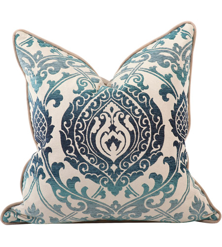 Howard Elliott Collection 2-365F Davida Kay 20 inch Damask Indigo Pillow, with Down Insert photo