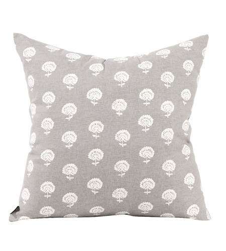 Howard Elliott Collection 2-616F Dandelion 20 inch Dandelion Pewter Pillow, Square photo
