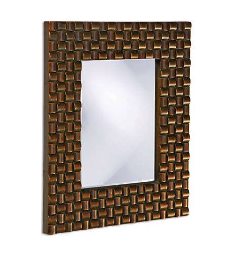 Howard Elliott Collection 21114 Justin 26 X 22 inch Copper Wall Mirror, Rectangle, Looped Basket Weave photo