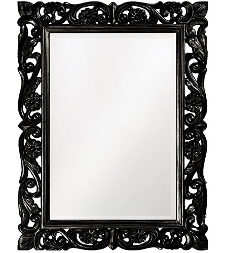 Howard Elliott Collection 2113BL Chateau 42 X 31 inch Glossy Black Wall Mirror, Rectangle photo
