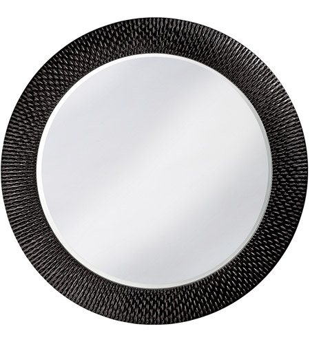 Howard Elliott Collection 2128BL Bergman 32 X 32 inch Glossy Black Wall Mirror, Round, Large photo