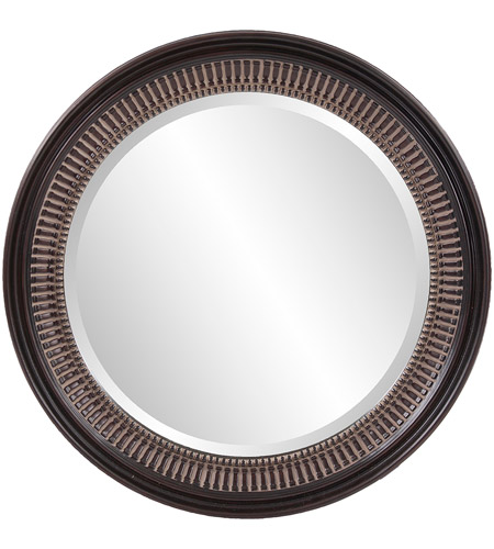 Howard Elliott Collection 2172 Monmouth 26 X 26 inch Distressed Antique Brown Wall Mirror, Round photo