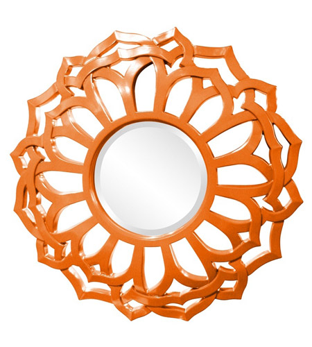 Howard Elliott Collection 2196O Casey 32 X 32 inch Orange Wall Mirror, Round, Sunflower Frame photo