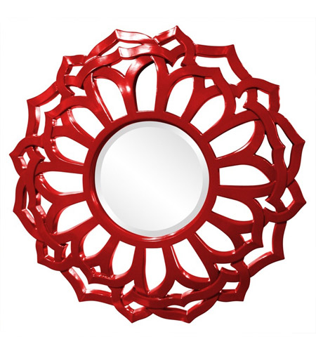 Howard Elliott Collection 2196R Casey 32 X 32 inch Red Wall Mirror, Round, Sunflower Frame photo