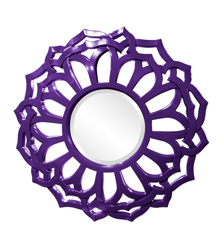 Howard Elliott Collection 2196RP Casey 32 X 32 inch Royal Purple Wall Mirror, Round, Sunflower Frame photo