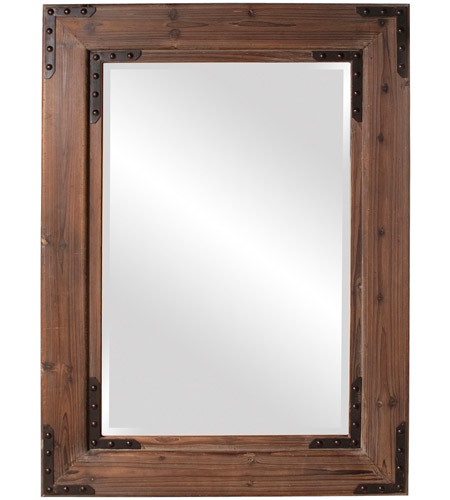 Howard Elliott Collection 37068 Caldwell 47 X 34 inch Natural Wood Wall Mirror, Rectangle, Black Iron Accents photo