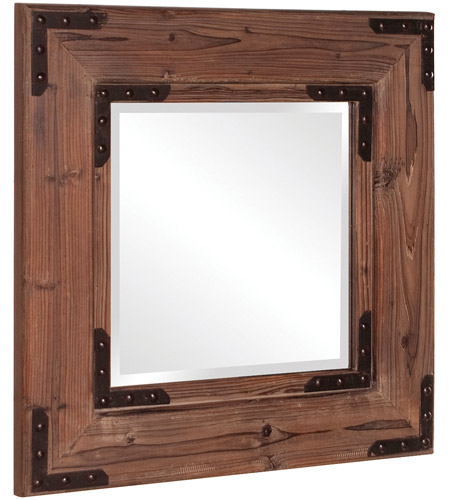 Howard Elliott Collection 37069 Caldwell 47 X 34 inch Natural Wood Wall Mirror, Square, Black Iron Accents photo