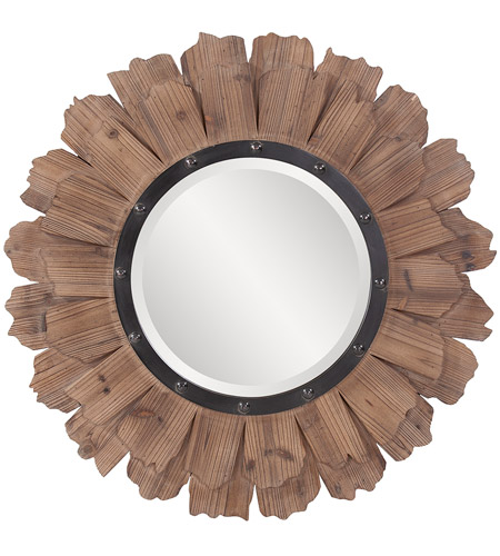 Howard Elliott Collection 37075 Hawthorne 35 X 35 inch Natural Wood Wall Mirror, Round, Black Iron Accents photo