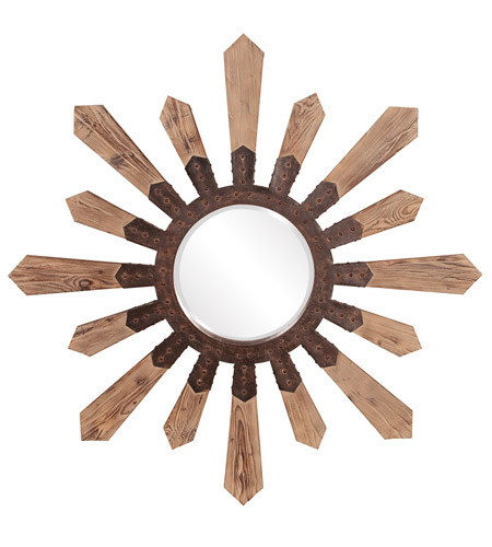 Howard Elliott Collection 37112 Pointe 1 inch Natural Aged Wood Wall Mirror, Round, Rustic Bronze Metal Accents photo
