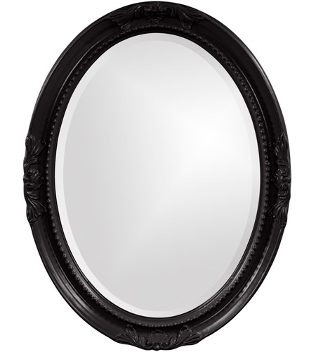 Howard Elliott Collection 40101BL Queen Ann 33 X 25 inch Glossy Black Wall Mirror, Oval photo