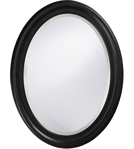 Howard Elliott Collection 40106 George 33 X 25 inch Matte Black Lacquer Wall Mirror, Oval photo