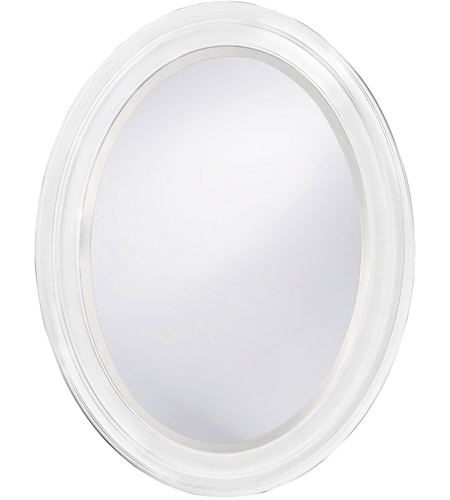 Howard Elliott Collection 40107 George 33 X 25 inch Matte White Lacquer Wall Mirror, Oval photo