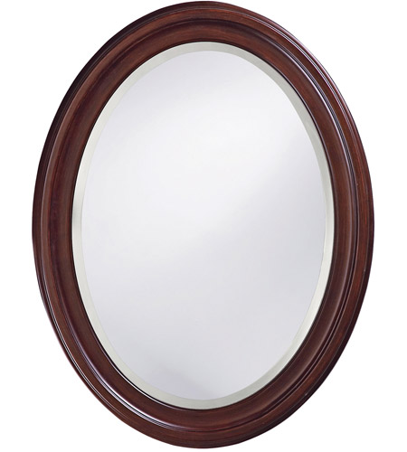 Howard Elliott Collection 40110 George 33 X 25 inch Rich Chocolate Brown Lacquer Wall Mirror, Oval photo