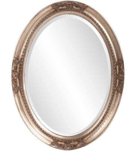 Howard Elliott Collection 4015 Queen Ann 33 X 25 inch Antique Silver Leaf Wall Mirror, Oval photo
