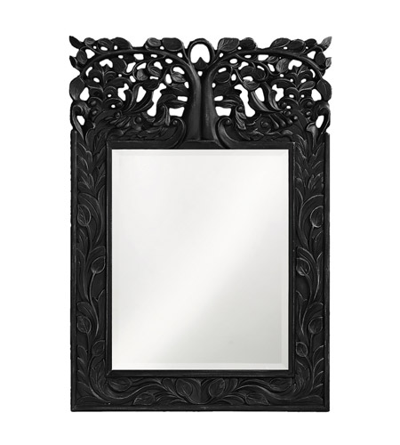 Howard Elliott Collection 4084BL Oakvale 25 X 17 inch Glossy Black Lacquer Wall Mirror, Rectangle photo