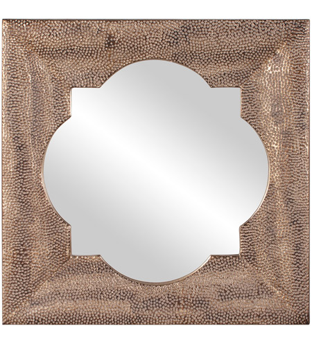 Howard Elliott Collection 43129 Raymus 36 X 36 inch Warm Silver Leaf Wall Mirror, Gold Accents photo