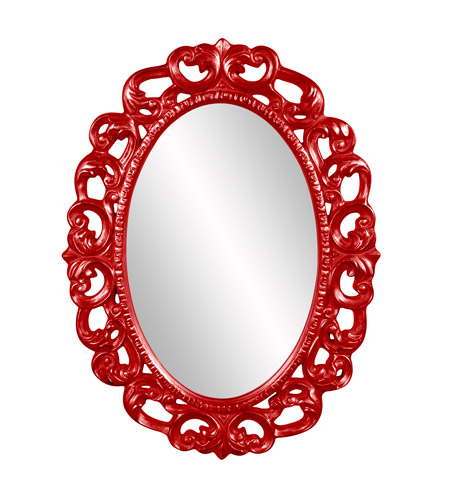 Howard Elliott Collection 43131R Ansel 46 X 34 inch Red Wall Mirror, Oval photo