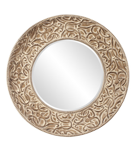 Howard Elliott Collection 43133 Larson Pickled Antique Brown Wall Mirror, Round photo