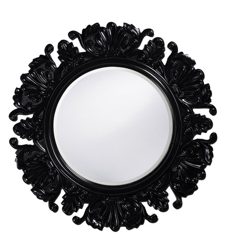 Howard Elliott Collection 51177BL Anita 44 X 44 inch Glossy Black Lacquer Wall Mirror, Round photo