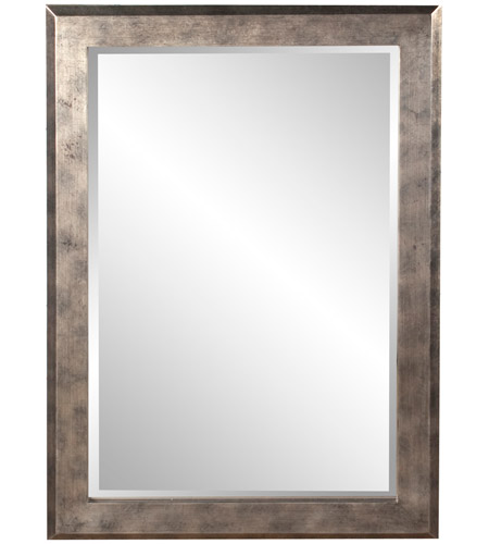 Howard Elliott Collection 51271 Charlize 42 X 30 inch Silver Leaf Wall Mirror, Rectangle, Pewter and Black Highlights photo