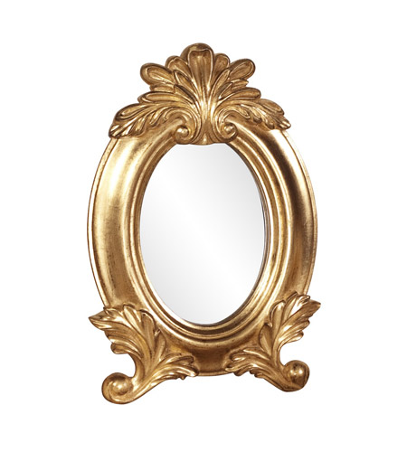 Howard Elliott Collection 56069 Countess 12 X 8 inch Bright Gold Leaf Wall Mirror, Oval photo