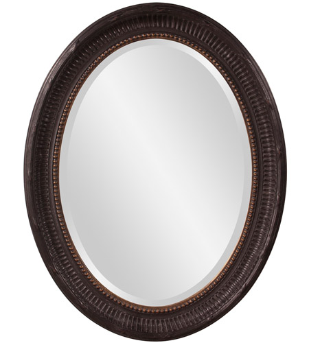 Howard Elliott Collection 56104 Nero 34 X 26 inch Rustic Black Wall Mirror, Oval, Gold Highlights photo