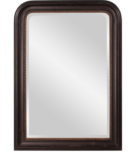 Howard Elliott Collection 56107 Carmichael 42 X 30 inch Rustic Black Wall Mirror, Rectangle, Gold Highlights photo
