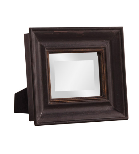 Howard Elliott Collection 56110 Agnes Rustic Black and Gold Desk Mirror, Rectangle photo