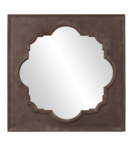 Howard Elliott Collection 56117 Raja 38 X 38 inch Textured Rust Brown Wall Mirror, Square photo