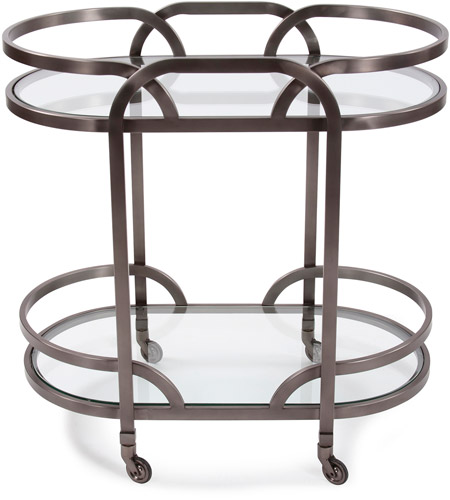 Howard Elliott Collection 58038 Carter Black Nickel Bar Cart photo