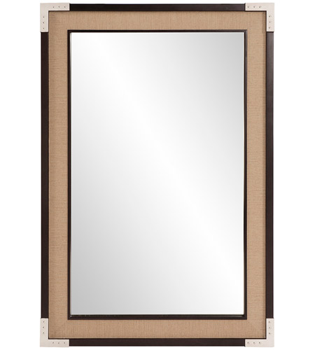 Howard Elliott Collection 60024 Leavitt 36 X 24 inch Natural Tan and Dark Walnut Wall Mirror, Rectangle photo