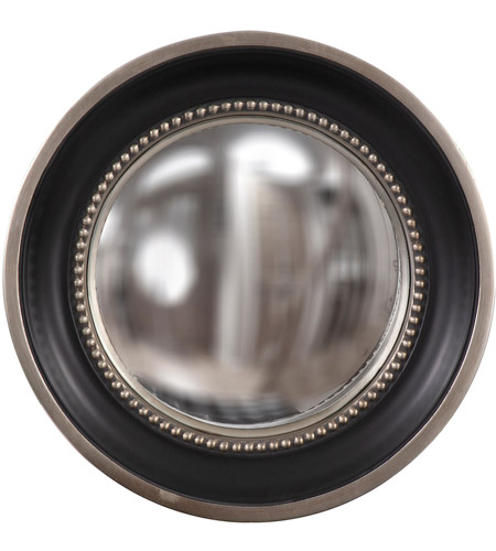Howard Elliott Collection 60173 Patterson 16 X 16 inch Matte Black Wall Mirror, Round, Silver Leaf Trim photo
