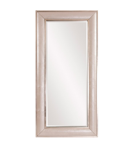 Howard Elliott Collection 68073 Hunter 82 X 40 inch Pearlized Faux Leather Floor Mirror, Silver Leaf Trim photo