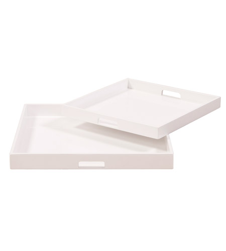 Howard Elliott Collection 83024 Lacquer White Lacquer Tray, Square photo