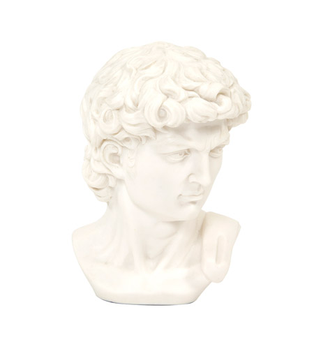 Howard Elliott Collection 91024 David Bust White Faux Marble Statue photo