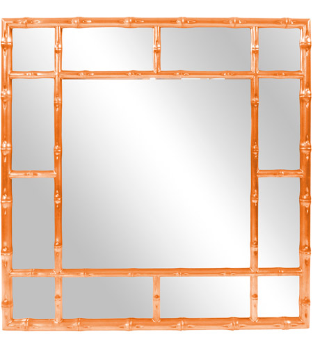 Howard Elliott Collection 92120O Bamboo 40 X 40 inch Glossy Orange Wall Mirror photo