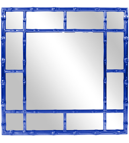 Howard Elliott Collection 92120RB Bamboo 40 X 40 inch Glossy Royal Blue Wall Mirror photo