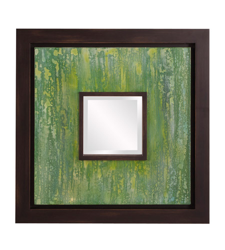 Howard Elliott Collection 92124 Monet 24 X 24 inch Green and Espresso Brown Wall Mirror, Square photo