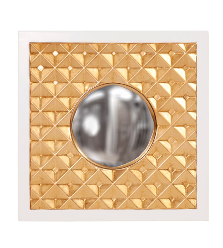 Howard Elliott Collection 92155 Ramses 20 X 20 inch Gold Wall Mirror, Square, Glossy White Border photo
