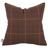 Square 16 inch Oxblood Red and Chocolate Brown Pillow