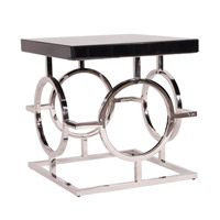 Howard Elliott Collection 11183 Signature 28 X 12 inch Glossy Black End Table, Stainless Steel Frame