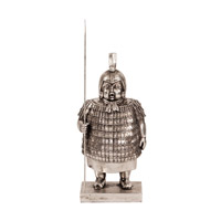 Howard Elliott Collection 12207 Samurai Guard Electroplated Silver Nickel and Black Patina Statue photo thumbnail