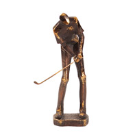 Howard Elliott Collection 12219 Putting Golf Player Bronze with Gold Leaf Statue photo thumbnail