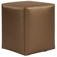 Universal 20 inch Bronze and Faux Leather Cube Ottoman